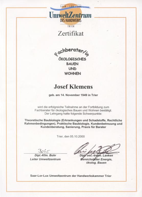 Zertifikat Fachberater für ökoligisches Bauen und Wohnen